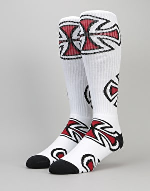 Independent Crosses Crew Socks - White