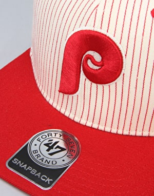 '47 Brand MLB Philadelphia Woodside Captain Snapback Cap - Red