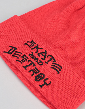 Thrasher Skate & Destroy Embroidered Beanie - Red