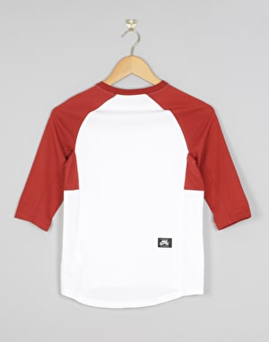 Nike SB Icon Boys 3/4 Sleeve T-Shirt - White/Dark Cayenne/Dark Cayenne