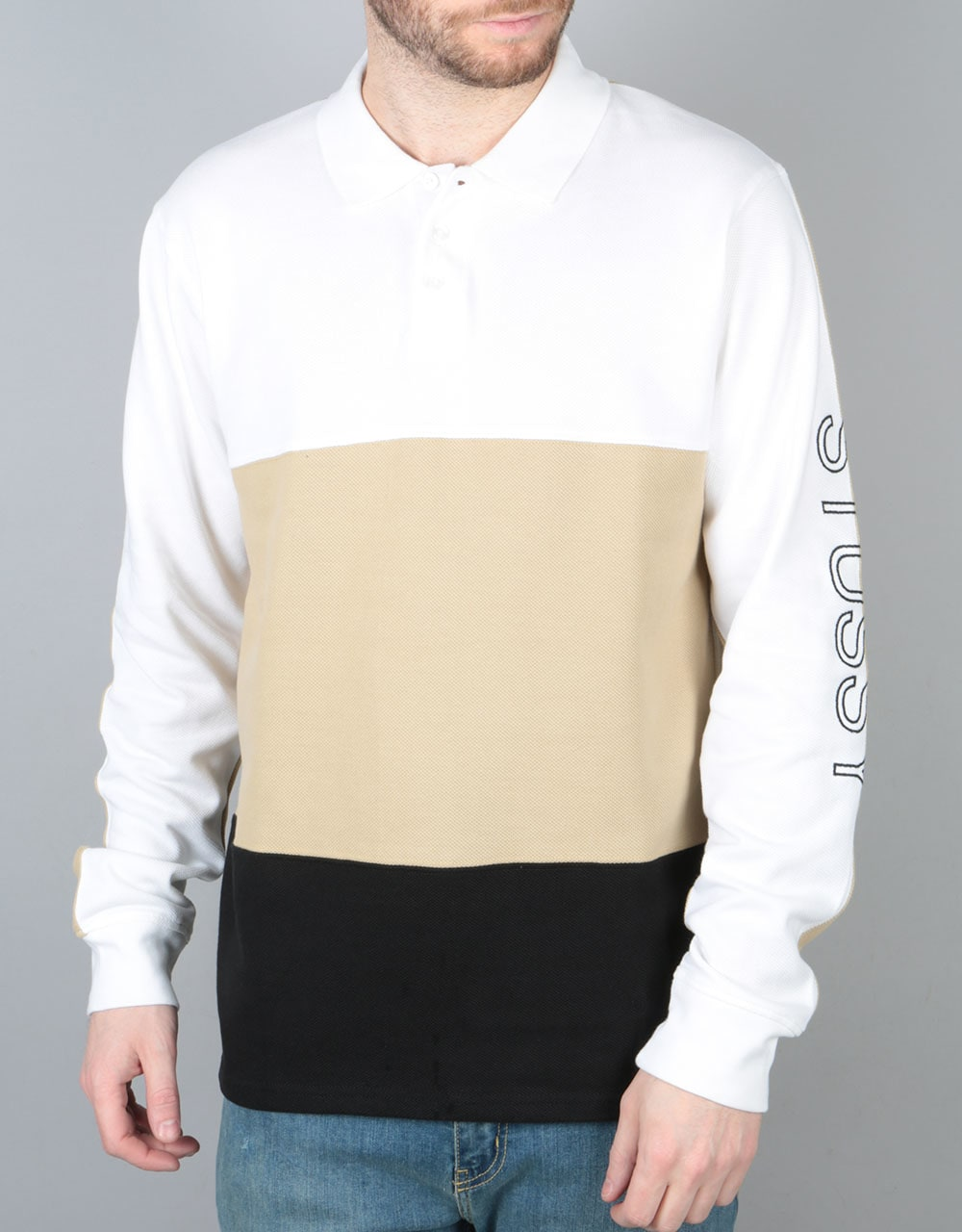 806d3ae00 Stüssy Panel Pique Polo Shirt - White   Skate Clothing   Mens Skateboard  Clothes   Route One