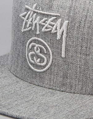 Stüssy Stock Lock Snapback Cap - Grey Heather