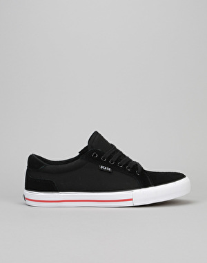 State Hudson Skate Shoes - Black/White/Red Suede/Canvas