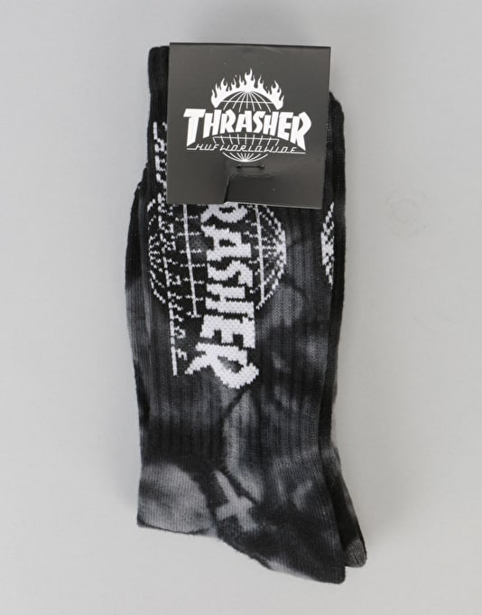 HUF x Thrasher TDS Crystal Wash Crew Socks - Black