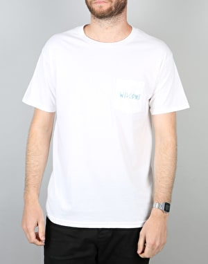 Welcome Symbol Pocket T-Shirt - White/Blue
