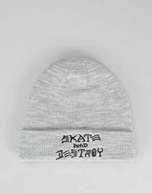 Thrasher Skate & Destroy Embroidered Beanie - Grey