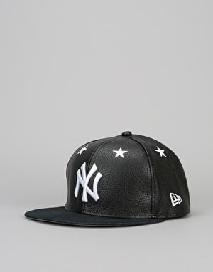 New Era 9Fifty MLB New York Yankees Leather Snapback Cap - Black/White