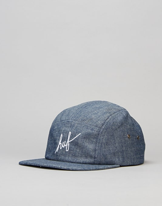 HUF Crosshatch Chambray Script Volley 5 Panel Cap - Indigo