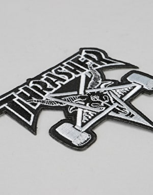 Thrasher SK8 Goat Patch - Black/SIlver