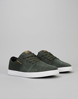 Supra Stacks II Skate Shoes - Dark Olive-White