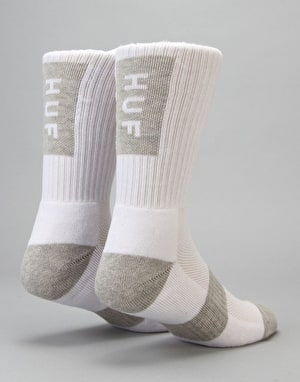 HUF Performance Bar Logo Crew Socks - White