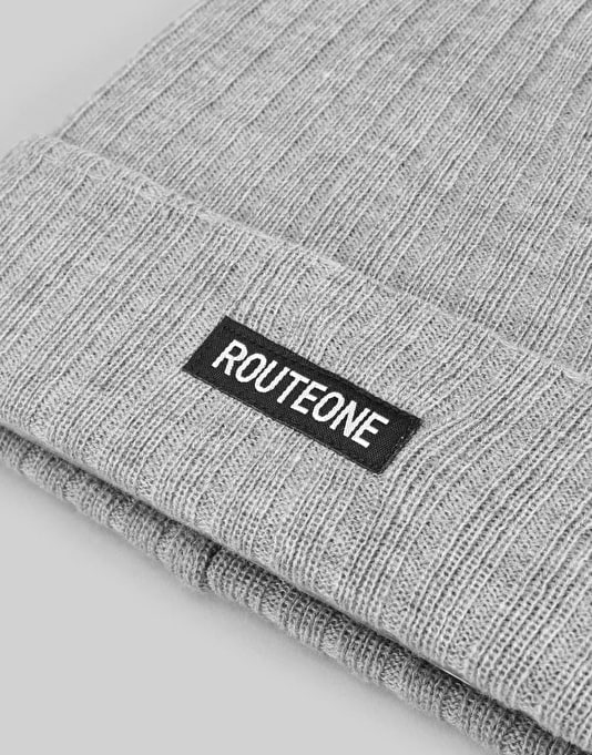 Route One Ribbed Bobble Beanie - Heather Grey