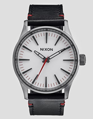 Nixon Sentry 38 Leather Watch - Gunmetal/White