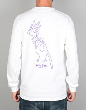 5boro Burning Rose L/S T-Shirt - White