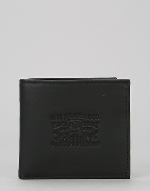 Levis Vintage Two Horse Bi-Fold Leather Coin Wallet - Regular Black