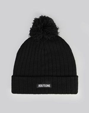 Route One Ribbed Bobble Beanie - Black