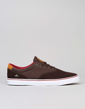 Emerica Provost Slim Vulc Skate Shoes - Brown/White