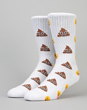 HUF Shit Head Crew Socks - White
