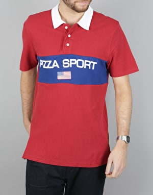 Pizza Sport S/S Polo Shirt - Burgundy/Blue