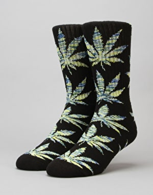 HUF Melange Leaf Plantlife Crew Socks - Black/Green