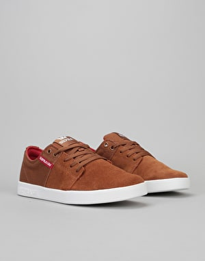 Supra Stacks II Skate Shoes - Brown/Red-White