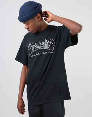 Thrasher Flame Outline T-Shirt - Black