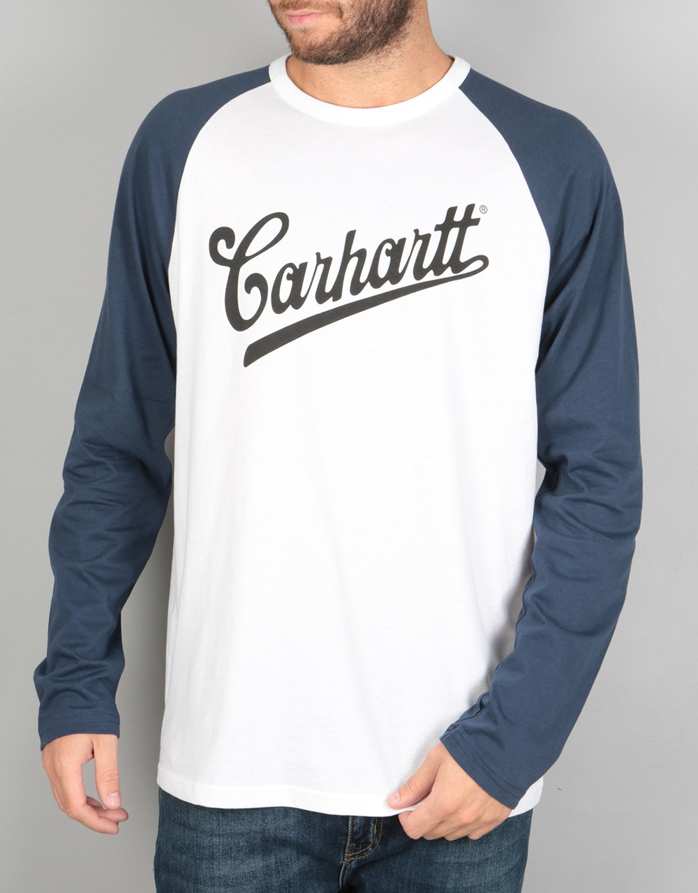 Carhartt l s strike t shirt white blue long sleeve t for Carhartt long sleeve t shirts white