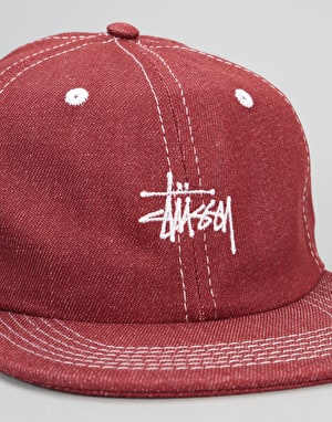 Stüssy Contrast Stitch Denim Strapback Cap - Red