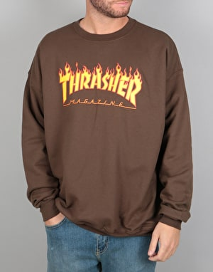 Thrasher Flame Logo Crewneck Sweat - Brown