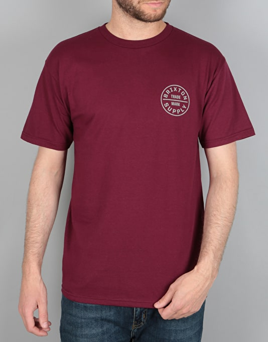 Brixton Oath T-Shirt - Burgundy/Light Grey