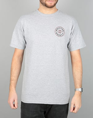 Brixton Oath T-Shirt - Heather Grey/Maroon