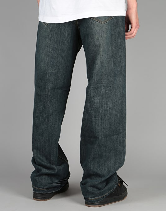 Route One Baggy Denim Jeans - Old Washed Indigo