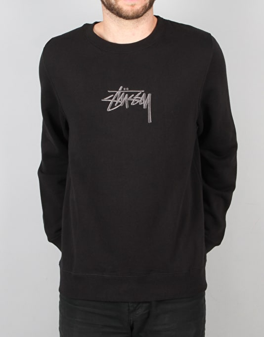Stüssy New Stock Applique Crew Sweatshirt - Black