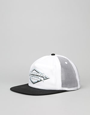 Thrasher Diamond Emblem Trucker Cap - White/Black