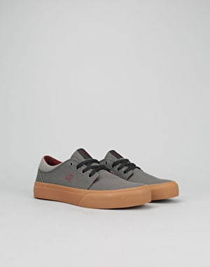 DC Trase TX Boys Skate Shoes - Grey/Grey/Red