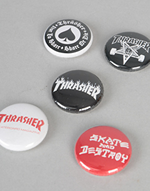 Thrasher Logo Buttons 5 Pack - Multi