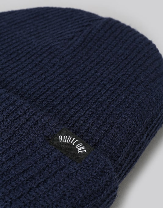 Route One Fisherman Beanie - Navy