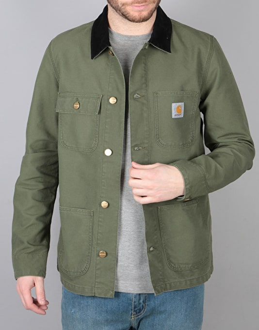 Carhartt Michigan Chore Coat - Rover Green Black Rinsed