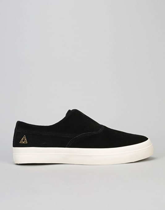 HUF Dylan Slip On Skate Shoes - Black/White (Suede)