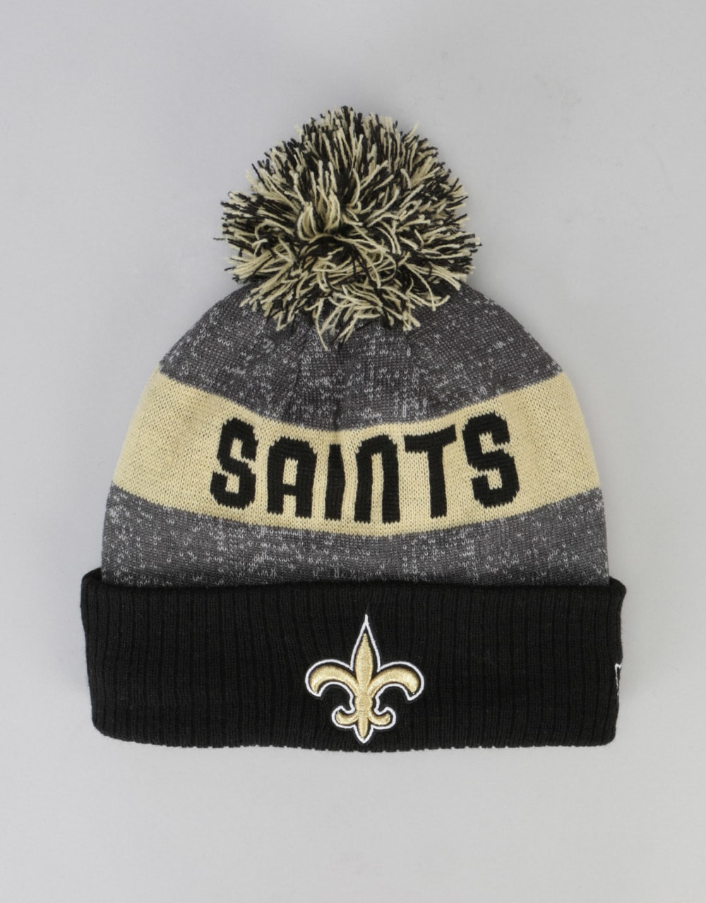 a20774cd519 New Era NFL New Orleans Saints Sideline Bobble Beanie - Grey Black ...