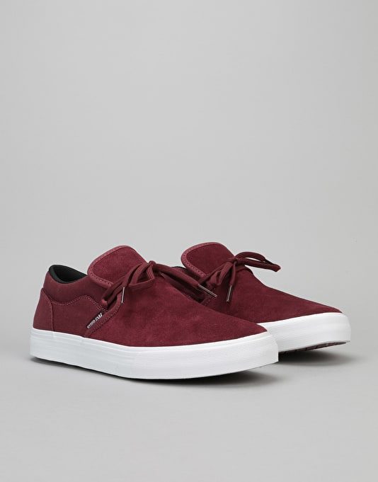Supra Cuba Skate Shoes - Burgundy-White