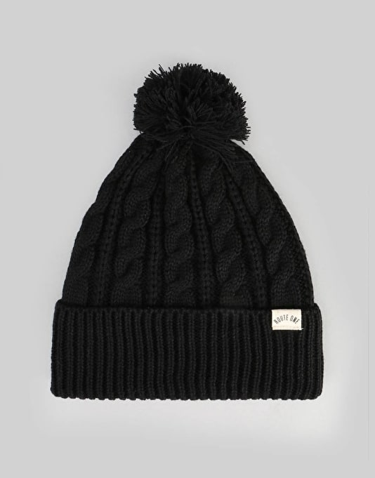 Route One Cable Bobble Beanie - Black