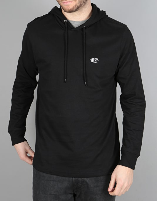 Obey Metier L/S Hooded T-Shirt - Black