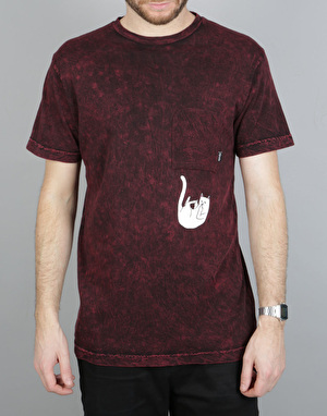 RIPNDIP Falling for Nermal Pocket T-Shirt - Burgundy Mineral Wash