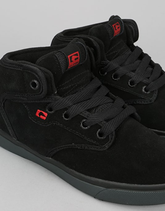 Globe Motley Mid Boys Skate Shoes - Black/Black/Red