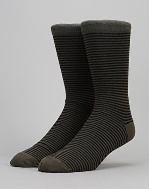 Route One Thin Stripe Socks - Black/Olive