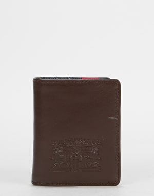 Levi's  Leather & Denim Bi-Fold Coin Wallet - Navy Blue