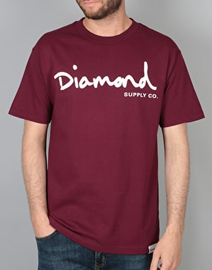 Diamond Supply Co. Og Script T-Shirt - Burgundy