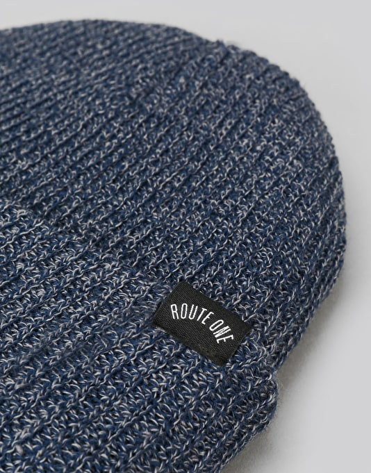 Route One Fisherman Beanie - Heather Blue