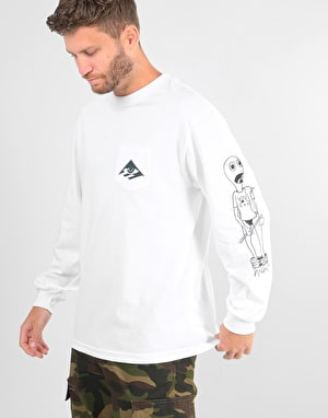 Emerica x Toy Machine Toy L/S Pocket T-Shirt - White